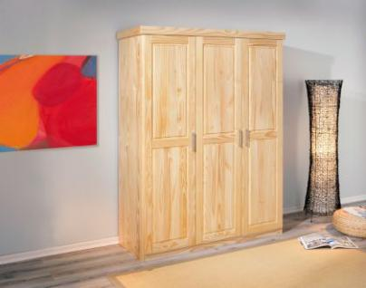 Kleiderschrank 3-türig Massivholz natur L-Pelikan