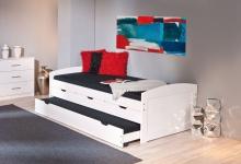 Bett Kinderbett ausziehbar 2. Schlafmöglichkeit Jugendbett 2 Längen inkl. Lattenrost L-Urmel