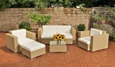 5-tlg Gartenmöbel Lounge Rattan 5 Farben 2 Sessel Sofa Tisch Hocker inkl. Auflagen CL-Greg