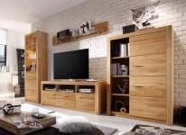 Wohnwand 3 Designs LED Beleuchtung Asteiche geölt Wildeiche Schrankwand Landhausstil F-Henry