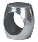 Beistelltisch 2 Größen Ø 37 43 cm Aluminium Hammerschlag Optik silberfarben L-Aida