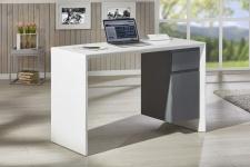 Schreibtisch 1 Schublade 1 Tür 120 x 50 cm Hochglanz weiß grau L-Mex