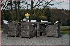 XXL Dining Lounge 2 Größen 9-tlg 7-tlg Sitzgruppe Rattan graumeliert CL-Chianti