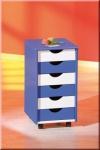 Rollcontainer 2 Farben bunt Mssivholz 6 Schubladen 4 Rollen L-Bob/Pein