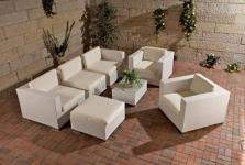 7-tlg Gartenmöbel Lounge Sofa Sessel 4 Farben Rattan Auflagen CL-Grace