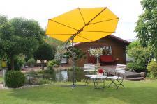 Sonnenschirm gelb natur inkl. Hülle Schirmständer LC-Blatt