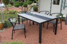 Gartentisch 150 x 90 cm Tischplatte Holzoptik Materialmix anthrazit grau Alugestell LC-Capri