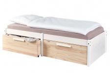 Bett 2 Größen Funktionsbett inkl. Lattenrost Schubfächer Massivholz Kiefer natur Milkyskin L-Elmo-3