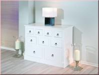 Kommode Sideboard 9 Schubladen Landhausstil Massivholz weiß lackiert L-Palmas 2