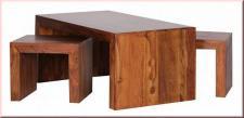 3er Set Couchtisch inkl. 2 Hocker Sheesham Massivholz Satztisch Beistelltisch W-C2H1210