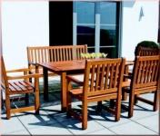 6-tlg Gartenmöbel Sitzgruppe Dining Set Massivholz Mahagoni 3 Farben WH-Rio-Set-1