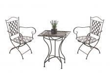 3-tlg. Nostalgie Eisen-Sitzgruppe 2 Stühle 1 Tisch 5 Antik-Farben CL-Pagos