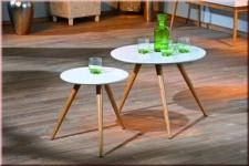 Beistelltisch 2er Set Tisch rund 2 Größen Bambus Massivholz hochglanz weiß Retro Stil L-Philia