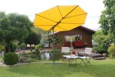 4-tlg. Sonnenschirm gelb inkl. Bespannung natur inkl. Schirmständer und Schirmhülle LC-Blatt
