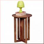 Beistelltisch Massivholz 2 Holzarten Akazie Sheesham Unikat Konsole 60 cm hoch W-B451725