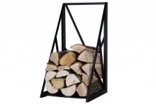 Brennholzregal 2 Größen Stahl schwarz Kaminholzständer Prisma-Form N-BR-129