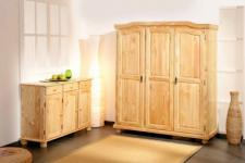 Kleiderschrank 2 Größen Massivholz L-Bari/L-Grano