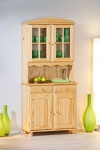 Vitrine Buffet Massivholz Kiefer 3 Farben mocca natur weiß Landhausstil L-Alice
