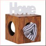 Beistelltisch Massivholz Sheesham Cube Würfel Hocker Lampentisch Holz handgefertigt W-BW1560