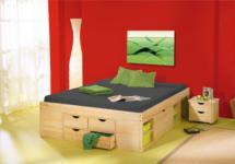 Doppelbett 3 Größen inkl. Kommoden Schubladen Massivholz natur L-Chars