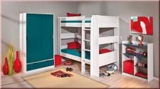 Etagenbett Bett umbaubar 2x Einzelbett Leiter Regal Lattenroste Massivholz weiß L-Dreamy