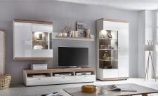 Wohnwand LED Beleuchtung 2 Farben hochglanz-weiß Grandson-Oak Eiche hell Schrankwand F-Like