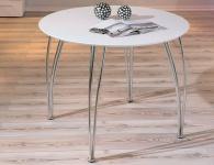 Tisch Esstisch rund Ø 100 matt weiß Gestell Chrom L-Cely
