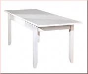 Tisch ausziehbar Esstisch Ausziehtisch Landhausstil Massivholz matt weiß Holzmaserung L-Calabria-1.1