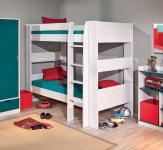 Etagenbett 2x Einzelbett Lattenroste Massivholz weiß L-Dreamy