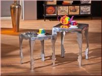 Beistelltisch 2er Set Tisch Shabby Chic 2 Größen Aluminium massiv silberfarben Unikat L-Somalia