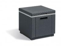 Kühlbox Kunststoff Rattan-Optik graphit Hocker Beistelltisch BF-Piano-1