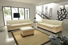 3-tlg. Couchgarnitur 3er Couch 2er Sofa Hocker Polstergarnitur DO-Napoli