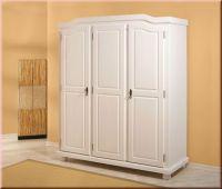 Schrank Kleiderschrank Dielenschrank Landhausstil Massivholz weiß 2 Größen L-Base