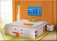 Bett Doppelbett Komforthöhe 5 Größen Massivholz weiß Lattenrost Schubkästen Nachttisch L-Telli - Vorschau 5