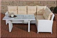 3-tlg Lounge Sitzgruppe Bank Eckbank Auflagen Tisch Rattan 4 Farben CL-Mika - Vorschau 5