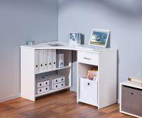 Eckschreibtisch Schreibtisch Schublade 2 Farben Sonoma-Eiche weiß L-Capri - Vorschau 5