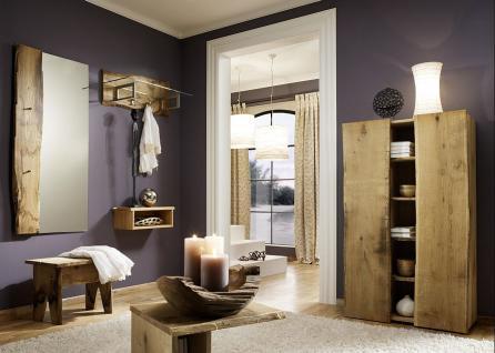Garderobe Set 6-teilig Landhausstil Eiche massiv sägerauh AW-Wildtree-Set-B