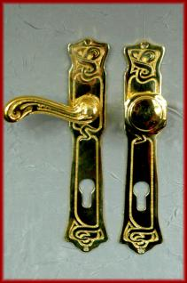 Jugendstil Klinke Türdrücker gold Messing