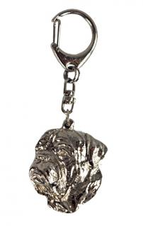 BX Dogge Bordeauxdogge Schlüsselanhänger Chrom