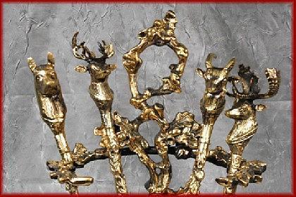 Luxus Kaminbesteck Barock Jugendstil gold alt Messing - Vorschau 2