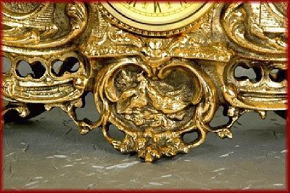 Barock Kaminuhr Tischuhr Uhr Pendule Messing - Vorschau 4