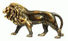Löwen Statue Figur MESSING