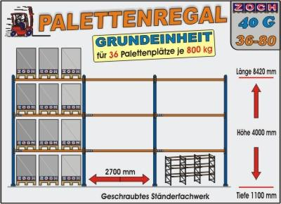 Palettenregal Regal Schwerlastregal 40G36-80