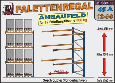 Palettenregal Regal Schwerlastregal 45A12-80