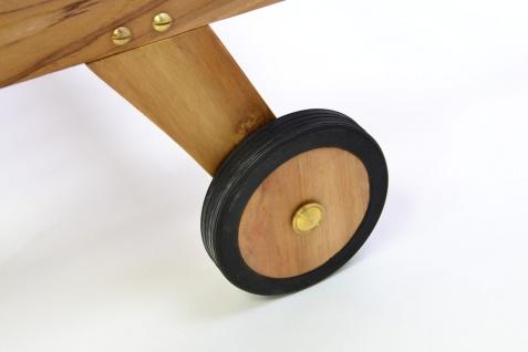 DIVERO Set Sonnenliege Gartenliege Teakholz behandelt Räder Auflage creme - Vorschau 5