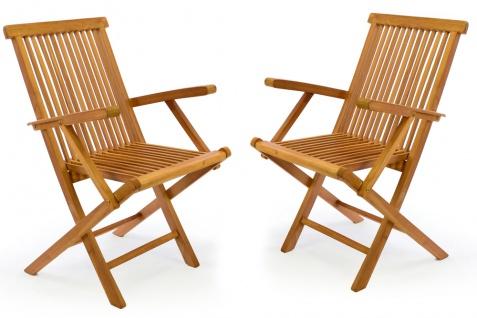 DIVERO 2er Set Gartenstuhl Armlehne Stuhl Teak Holz klappbar massiv behandelt