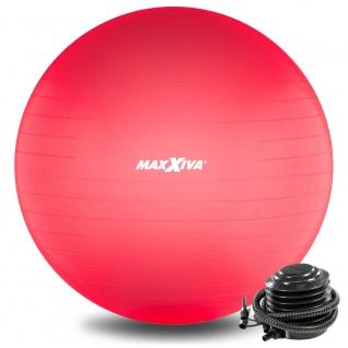 MAXXIVA Gymnastikball Ø 55 cm Rot mit Pumpe Sitzball Fitness Yoga Pilates