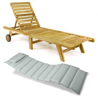 DIVERO Sonnenliege Gartenliege klappbar Teak-Holz natur Auflage hellgrau