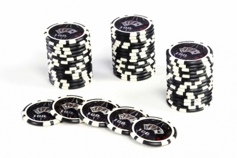 50 Poker-Chips Wert 100 Laserchip 12g Metallkern OCEAN-CHAMPION-CHIP abgerundet