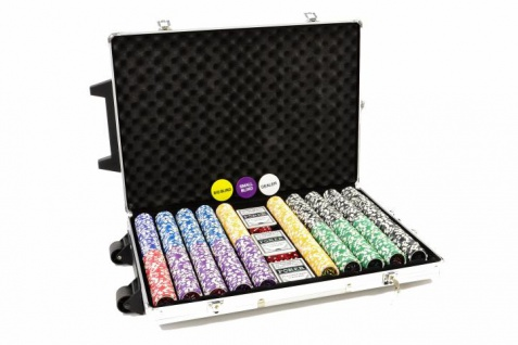 "Pokerkoffer Alu Trolley mit 1000 abgerundeten Laser Pokerchips "" Ocean Champion Chip"" Poker Set"